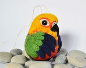Jenday Conure, needle felted bird, wool ornament ball