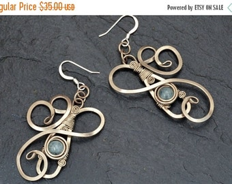 ON SALE Aqua Blue Earrings Bridal Earrings Wire Wrap Earrings Aquamarine Earrings Dangle Earrings Blue Stone Earrings Art Nouveau Earrings