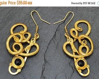 ON SALE Gold Dangle Earrings Wire Wrap Earrings Gold Plated Earrings Black Stone Earrings Long Earrings Onyx Earrings Antique Style Golden E