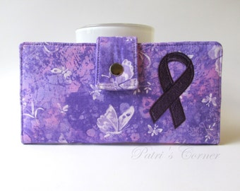 Handmade womens clutch wallet Purple hope - butterfly and ribbon for a hope - ready to ship - ID clear pocket