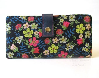 Handmade womens wallet Liberty of London classic navy small flowers - ID clear pocket - clutch - Ready to ship