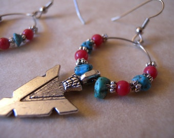 Southwestern Red, Turquoise, and Silver Hoop Earrings with Arrowhead Charm