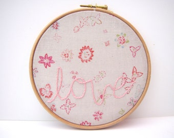 Hand Embroidery Hoop Art. Love. In The Hoop Embroidered Picture. Floral Soft Grey 6 x 6 Inch Sweet Fabric Picture. by mirrymirry