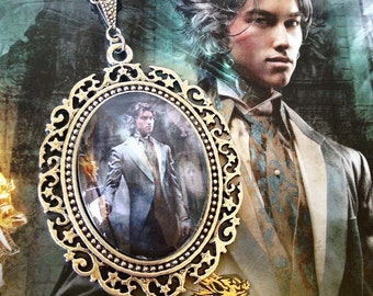 Jem Carstairs 30x40mm Pendant Cameo Necklace - Book Cover Clockwork Prince -The Infernal Devices Collection by Belle Regalia