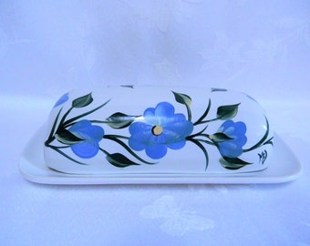 Butter dish, hand painted butter dish, covered butter dish, kitchen decor, blue flowers, butter dish with lid, painted butter dish