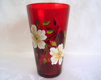 Vase, Hibiscus flowers, Vase with hibiscus flowers, red vase, painted vase, painted hibiscus, home decor, home and living