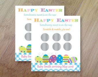 Easter Egg Gender Reveal, Set of 12 Scratch off Cards for a Baby Shower or Gender Reveal Party Easter Gender Reveal