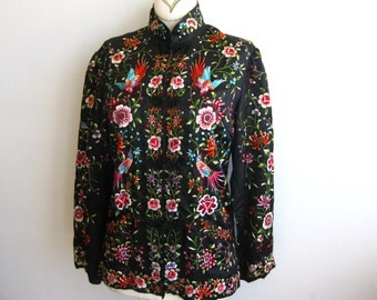 Vintage 50s 60s Black Imperial Chinese Silk Satin Embroidered Blouse Top Jacket