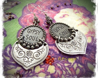 GYPSY SOUL Earrings Free spirit Boho Cowgirl EARRINGS Festival earrings Indie earrings Hippie Bohemian earrings Sterling silver GPyoga