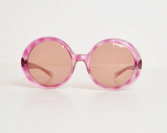 Vintage 60s 70s Round Marbleized Purple Oversized Sunglasses
