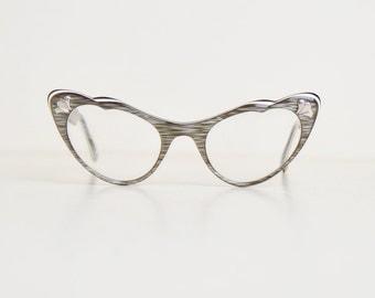 Vintage 50s Cats Eye Marbleized Floral Inlay Eyeglasses / 1950s Vintage Frames
