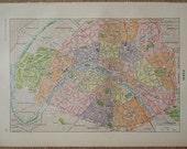 Vintage PARIS map 1923 with Arrondissements, quarters, antique paris print