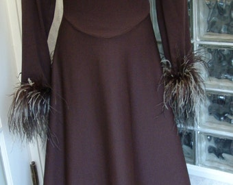 Vintage 70s Brown Maxi Dress Poly Mock Turtleneck Ostrich Feather Cuff Full Sweep L Large