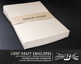 25 Kraft A7 Envelopes | Kraft Envelope | 5 1/4 x 7 1/4 fits 5 x 7 Invitation | Environment Desert Storm  Envelope | Light Kraft Envelope