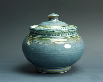 Sale - Handmade pottery sugar bowl storage jar tea caddy blue/green 3306