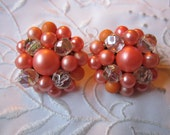 Vintage Peach Colored and Clear Crystal Glass Clip On Earrings from Japan