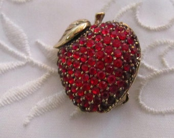 Vintage Monet Ruby Red Rhinestone Encrusted Apple Brooch
