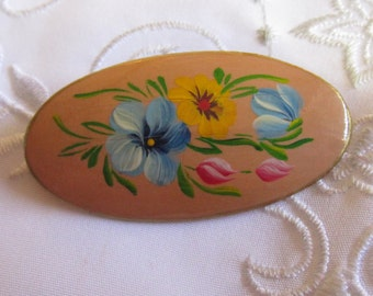 Vintage Wooden Oval Brooch with Painted Flowers and Leaves