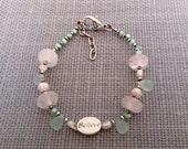 Gem Stone Bracelet, Sterling Silver Beads, Believe Message Bead, Pastel Spring Bracelet, Clearance Sale, Clearance Bracelet