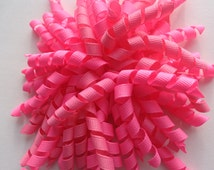 Pink Corker Bow ready to ship pink pom pom hair bow girls pink bow korker hot pink
