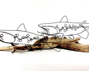 Double Trout Wire Sculpture, Trout Art, Fish Wire Art, Wire Folk Art, 268211264