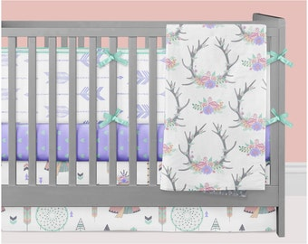 Woodland Crib Bedding Girl, Teepee Tipi Nursery Bedding Baby Crib Set, Floral Antlers Dream Catchers Arrows Hearts Mint Purple Peach Coral