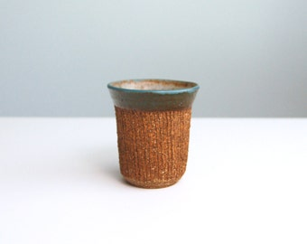 Studio Pottery Small Stoneware Brushed Cup Vase