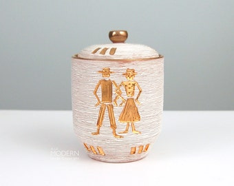 Fratelli Fanciullacci Italian Sgraffito White Gold Covered Jar