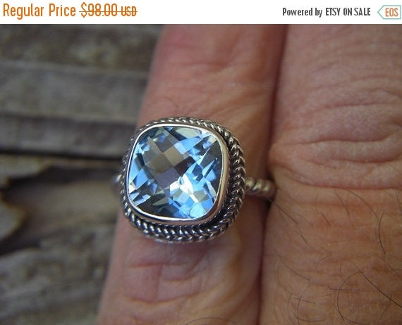 ON SALE Beautiful sky blue topaz ring in sterling silver