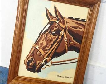 Vintage Framed Horse PBN, Horse Paint By Number, Native Dancer