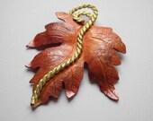 Copper Maple Leaf Pendant Large Patina 60mm Autumn Leaves