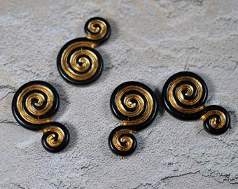 Black and gold vintage swirls, 28x18, #254