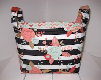Coral Pink Mint Gold Black Chevron Flowers Fabric Basket / Organizer / Diaper Caddy