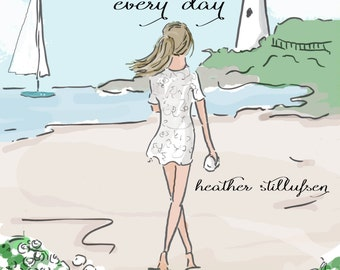 Beach House Art - Find Something Positive in Each and Every Day - Ocean Beach Art forBeach House Decor- Art for Women - Inspirational Art