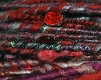 Handspun Bulky Textured Art Yarn Marsala Red Corespun and Beaded with Pearls, Carnelian, Crystal
