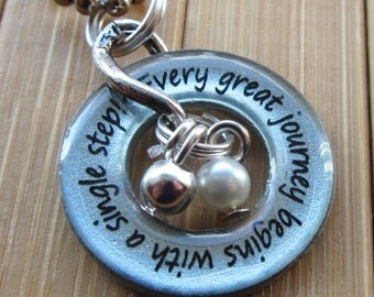 Every great journey begins with a single step washer word quote phrase grad pendant necklace  pendant with chain