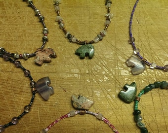 Zuni Fetish Necklaces hand beaded semiprecious stones bear and bison fetishes 6 total