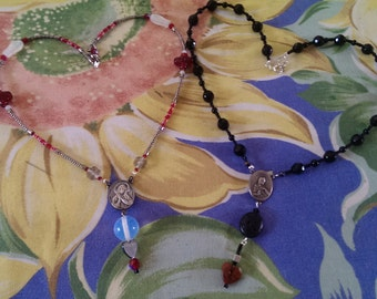 Vintage Rosary Bead Necklace REVERSIBLE red & black faceted beads, molded Czech glass, and seed beads Virgin Mary/Jesus images