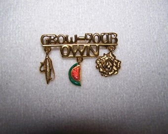 Gold Dangle Danecraft Grow Your Own Fruit Flowers Vegetables Brooch