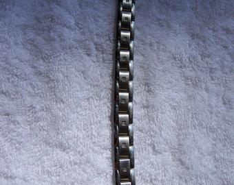 Stainless Steel Diamond Crystal Link Bracelet