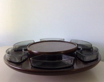 Lazy Susan Vintage Mid century Pyrex Tempered Glass and Teak Spinning Server, Walnut colored Smoked Glass