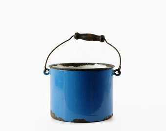 Vintage Enamel Berry Bucket, Blue Enamelware, Small Metal Pail, Rustic Farmhouse