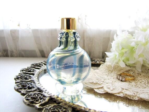 Vintage Perfume Bottle Small Perfume Bottle Vanity Bottle Murano Glass Blue Swirl Glass from AllieEtCie