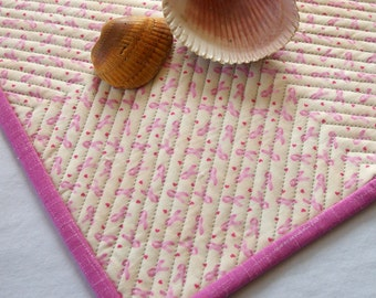 Pink Ribbon Mug Rug Breast Cancer Awareness Quilted Pink White Snack Mat Coaster Quiltsy Handmade FREE U.S. Shipping