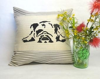 Bulldog Print Pillow - Decorative English Bulldog Block Print Pillow, Laying Bulldog Print Pillow, Dog Print Pillow, Home Decor