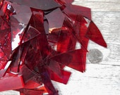 Mixed Clear Red Stained Glass Scraps Mosaic Craft Supplies 16 oz