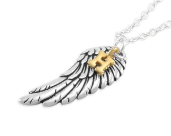 Angel Wing Remembrance Necklace. Memorial Jewelry. Personalized. letter. sympathy. memory infant loss. Sterling silver. initial, gold HENRY
