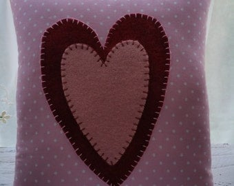 Primitive Stitchery Woolen Hearts on Pink Pillow