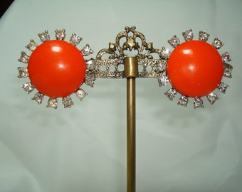 1960s Large Tangerine Orange Earrings with a Rhinestone Border.