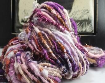Handspun Art Yarn Corespun Super Bulky Sheeping Beauties  'Desert Orchid' Unique Repeat